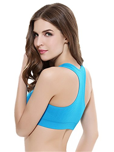YeeHoo Femme Girls rembourré Push Up Soutien-gorge de sport Moving Comfort Workout Yoga Sports Bra Bleu