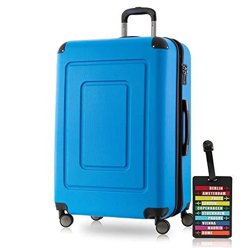Happy Trolley - Lugano Hartschalen-Koffer Koffer Trolley Rollkoffer Reisekoffer Lugano, sehr leicht + stabil, TSA, 76 cm, 113 Liter, Cyan Blau +Design Kofferanhänger