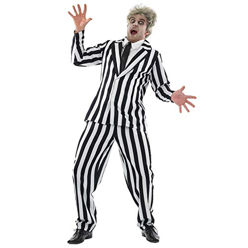 Fun Shack Herren Costume Kostüm, Mens Black & White Striped Suit, L
