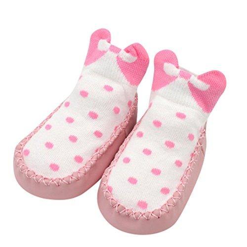 Mitlfuny Unisex Babyschuhe Mädchen Jungen Anti-Slip Socken Slipper Stiefel,Bow Dot Neugeborenes Baby Mädchen Jungen Anti-Slip Socken Slipper Schuhe Stiefel