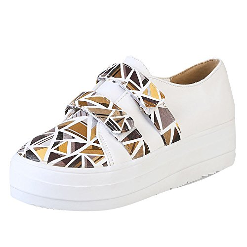 Mee Shoes Damen bequem Klettverschluss Durchgängiges Plateau Pumps Gelb