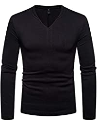 BUSIM Men's Long Sleeved Shirt Casual Autumn Winter Solid Color Slim Fashion Solid Color Personality Plus Velvet...
