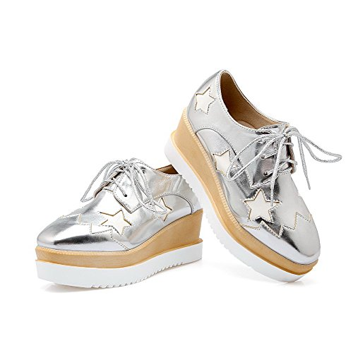AgooLar Femme à Talon Correct Verni Couleurs Mélangées Lacet Carré Chaussures Légeres Argent