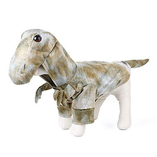 Coppthinktu Hundekostüm Dinosaurier Halloween Hund Drachenkostüm Kapuzenmantel Haustier Jumpsuits, Small, Mehrfarbig