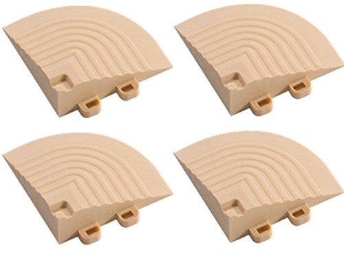 04 Fliesen (BodenMax® CN1001-04 Komplementäres Eckstück für Terrassenfliesen mit Verbindung von Öse für Fliesen Klick Farbe beige braun (4 Stück))