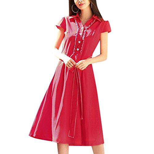 MNBS Femme Classique 1950S Style Ourlet A-ligne Élégant Robes Vintage Couleur Unie Rouge