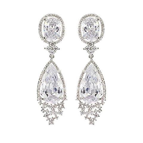 KnSam Boucles d'Oreilles Plaqué Argent Dangle Earring Blanc Cristal Luxueux Cercle Goutte d'Eau [Bijoux