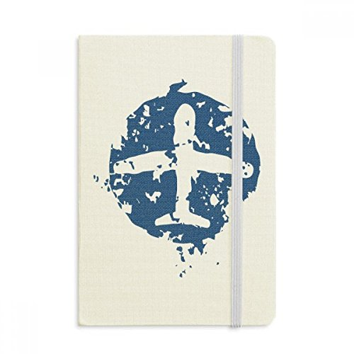 DIYthinker Blau Flugzeug Design Illustration Muster Notebook Stoff Hard Cover Klassisches Journal Tagebuch A5 A5 (144 X 210mm) Mehrfarbig