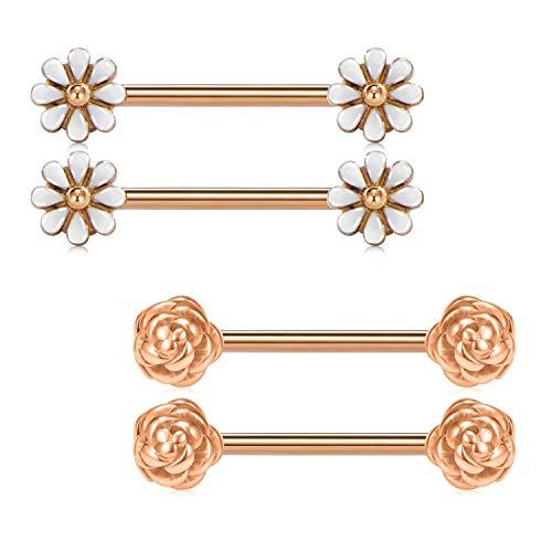 AceFun 2 Paar Chirurgenstahl Brustwarzenpiercing Set mit Rose Blume und Gänseblümchen 1.6mm Barbell Silber Rosegold 16mm Brustpiercing für Brustwarzen Schmuck für Damen Frauen