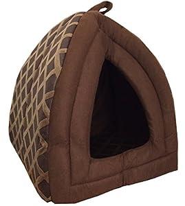 Niche igloo en tissu peluche chaud pour chien/chat