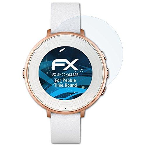 atFoliX Schutzfolie kompatibel mit Pebble Time Ro& Panzerfolie, ultraklare & stoßdämpfende FX Folie (3X)
