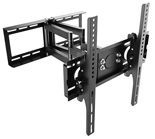 Ricoo TV Wandhalterung R28 Schwenkbar Doppelarm Plasma LCD LED Wandhalter für Fernseher mit ca. 76 - 165cm (30'-65') VESA max. 400x400 universell passend fuer alle TV-Hersteller *** Wandabstand nur 100 mm ***