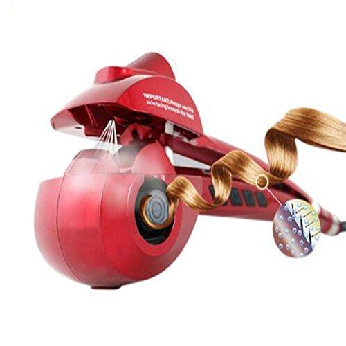 GHFDSJHSD Automatisch Haar Lockenstäbe Sprühen Dampf Rollen Gelockt Keramik Schnell Heizung Und LED Bildschirm anzeigen, red -