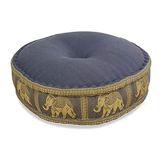 Colourful Zafu Meditation Cushion for Yoga filled with 100% organic Kapok Seat Thai Silk (grey elephant)