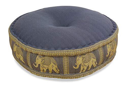 livasia Zafukissen Seide mit Kapokfüllung, Meditationskissen BZW. Yogakissen, rundes Sitzkissen/Bodenkissen (grau/Elefanten)