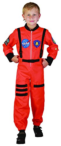 für Jungen 122/134 (7-9 Jahre) (Astronaut Kostüm Orange)