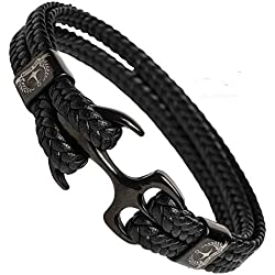 Tom Miller® Bracelet Ancre Homme Noir en Cuir de haute qualité Cadeau pour Hommes (Black, 21)