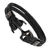 Tom Miller Bracelet Ancre Homme Noir 21 cm de Long en Cuir de Haute qualité Cadeau pour Hommes