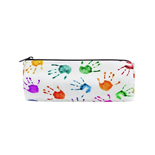 Pencil Case Green White Pattern School Pen Pouch Office Zippered Pencil Cases Holder Women Makeup Bag