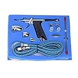 Set di kit aerografo, kit a doppia azione per aerografo Pistola a spruzzo Tubo flessibile per aria Ago Set completo per scopi generici Artigianato artistico Tatuaggi Trucco Chiodo Modello-Ferrovia