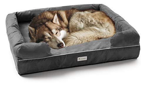 Hundebett, atmungsaktiv, geruchsabweisend, mit Memory-Schaum, angeruchter Aktivkohle, geruchsneutralisierend, orthopädisches Hundebett, hochwertiges Wildleder, wasserabweisend, kauresistent