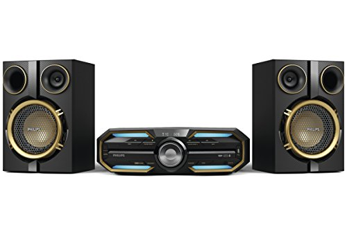 Philips fx25 mini sistema hi-fi con bluetooth e nfc, illuminazione led, max sound, usb, cd, mp3, nero