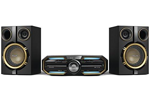 dual stereoanlage mit plattenspieler Philips FX25 HiFi-Minisystem (mit Bluetooth, Dual-Verstärker, NFC, Audio-Eingang, 300 Watt) schwarz/gold