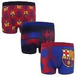 FC Barcelona - Jungen Boxershorts mit Vereinswappen - Offizielles Merchandise - Geschenk für Fußballfans - 3 Paar - Mehrfarbig - 9-10 Jahre