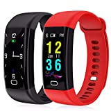 JJSSGGJJSSHH Sport Armband F07 Fitness Armband Smart Band Farbschrittzähler Schlaf Monitor für Android IOS Smartband PK S2 mi Band 2, rot
