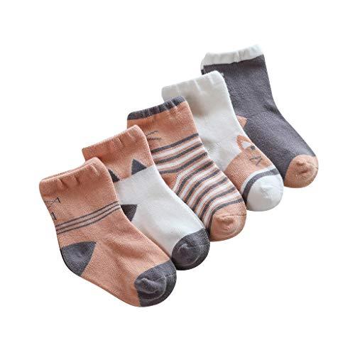 CommittedeKinder Cotton Socken Cotton Crew Socken Atmungsaktive Socken Nette Cartoon Mesh Socken Geeignet für Kinder zwischen 3-7 Jahre alt, 5 Paar -