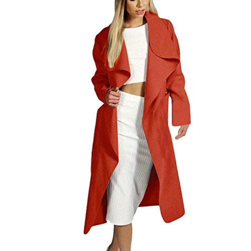 Koly _Cappotto del rivestimento delle donne Slim lungo Trench Outwear Cardigan Rosso