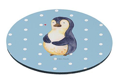 Mr. & Mrs. Panda Maus, Mousepad, Rund Mauspad Pinguin Diät - Farbe Blau Pastell -