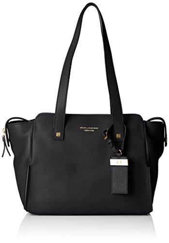 Piquadro Shopping Bag Collezione Sirio Borsa a spalla, Pelle, Nero, 30 cm