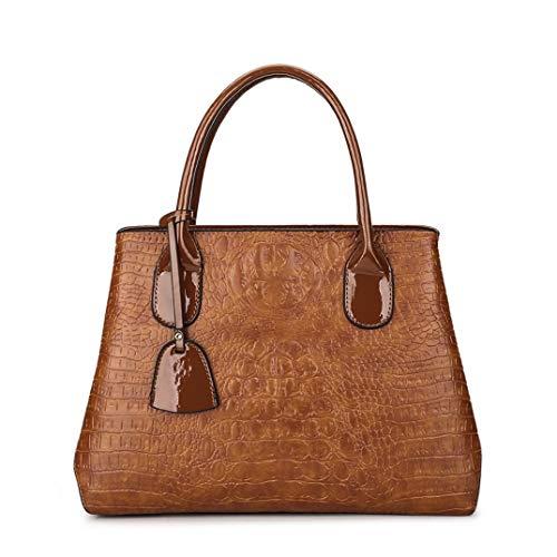 Skyinbags Single Schulter Dame Tasche Handtasche Fashion Krokodil Muster Weiches Leder, Braun