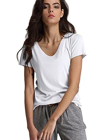 Escalier Femmes T-shirt Basique en Coton Col rond Manche Courte