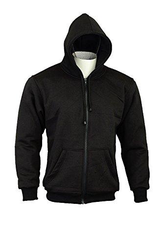 Capuchontrui/Hoodie voor motorrijders, 100% Kevlar, beschermers, kleur zwart, maat 4XL Biker Hoodies