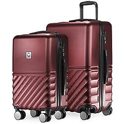 HAUPTSTADTKOFFER - Boxi - Set de 2 valises de Voyage, Taille Moyen et Bagage à Main (55/65 cm), Coque Rigide Legere, ABS, TSA, 4 roulettes Double, Bourgogne