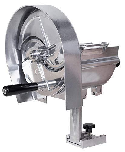 Beeketal 'GS-M1' Profi Gastro Gemüseschneider manuell mit Kurbel, Aluminium Gehäuse, Edelstahl Schneidmesser, Schnittsärke 0-12 mm einstellbar, für bis zu 100 mm großes Schnittgut