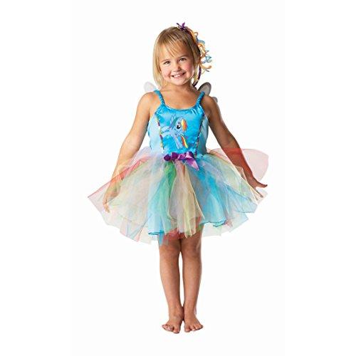 Amakando Rainbow Dash Kinderkostüm Regenbogen Fee Kleid S 3-4 Jahre 98-116 cm Ballerina Feenkleid My Little Pony Kostüm Mädchen Kostüme Fasching Feenkostüm Lizenz Regenbogen Tutu (Rainbow Dash Kostüm Zubehör)