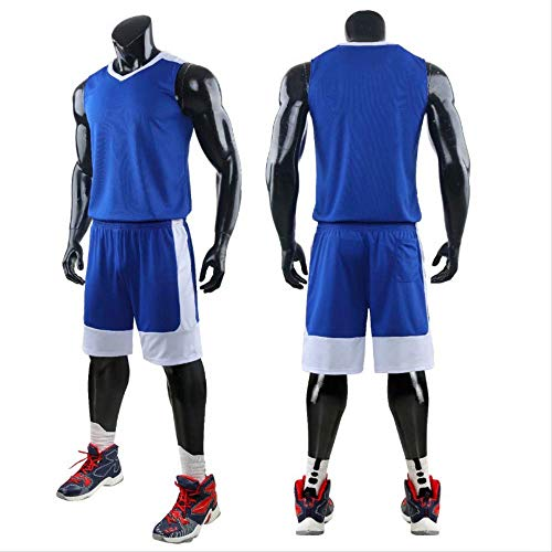 WRPN Jersey da Basket,Uomini Basket Jersey Comfortable Training Basketball Jerseys,Shorts,Polyester Fabric Sport Jersey,Adatto per Studenti Universitari/Uomini/Giovani 3XL Azzurro