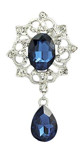Unbekannt Vintage Ovale Strass Braut Kristall Brosche Träne Anhänger 6,4 cm (BR072) Blau