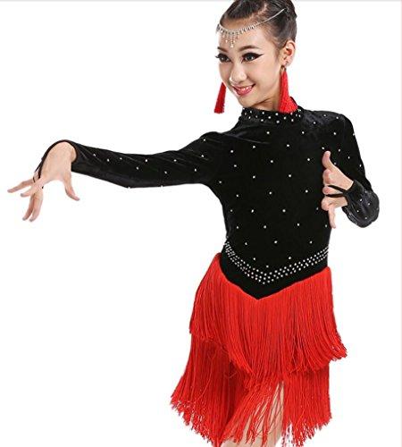 ür Kinder Kinder Latin Dance Kostüme Kinder Wettbewerb tragen Latin Kleid Kleid Langarm Rose Rot Grün Blau, red, XL (Latin Dance Kostüme Kinder)