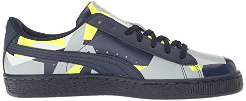 Puma Basket Classic Graphic Synthetik Tennisschuh Peacoat-Safety Yellow-Quarry