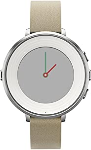 Pebble Time Round Smartwatch in cassa d'argento, cinturino in pelle, 14 mm, Argento/B