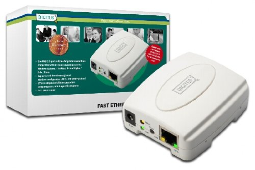 DIGITUS USB 2.0 Fast Ethernet Print Server, 1-Port, 1x USB A, 1x RJ45, weiß