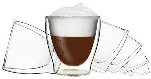6x 200ml DUOS doppelwandige Gläser, Teegläser, Kaffeegläser, Thermogläser - Set mit...