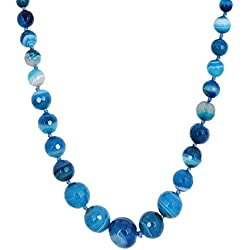 Kastiya Jewels Blue Colored Original Agate Semi Precious Gemstone Beads Necklace Mala For Women