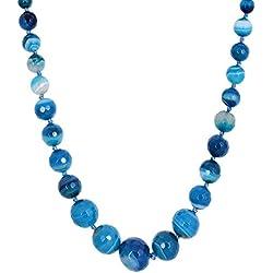 Kastiya Jewels Blue Colored Original Agate Semi Precious Gemstone Beads Necklace Mala For Women