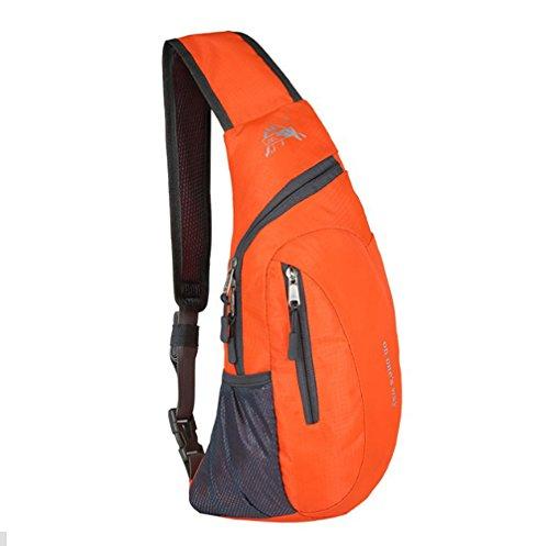 Rucksack, wasserabweisende Outdoor-Schultertasche, Umhängetasche, für Damen, Herren, Mädchen, Jungen, Reise-/Tagesrucksack, Orange, - Schulter-rucksack