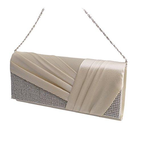 Dairyshop Borsa della borsa del cocktail di cerimonia nuziale della borsa della frizione delle donne di cristallo pieghettate (Royal Blue) Albicocco
